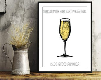 Champagne, Champagne Quote, Black and Gold, Wall Art, Home Decor, Bar Art, Kitchen Art