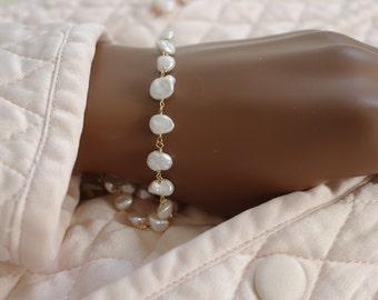 Keshi pearls gold plated bracelet handmade wire