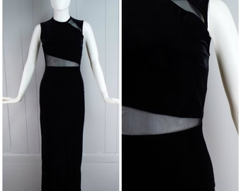 Vintage Womens 1990s Sleeveless Black Velvet Full Length Dress with Cut Outs and Back Slit | Size XS