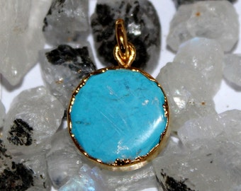 1 Pc Turquoise Round Pendant Connector with 24k Gold Electroplated Edges- Gold Plated Round Turquoise Pendant - Single Loop Pendant HL17