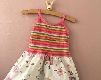 Babykleid 68 74 vintage 70er Katzen upcycling Kinderkleidung