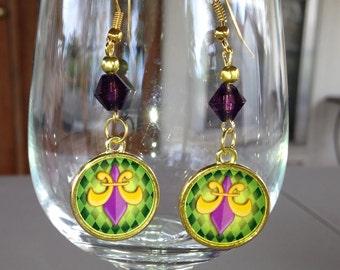 Mardi Gras Fleur De Lis Dangle Earrings