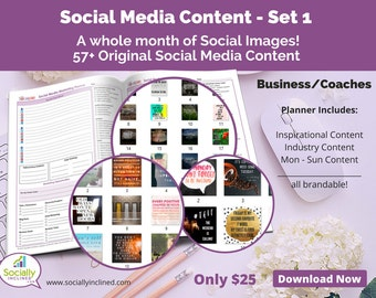 Social Media Images - Content General Business & Coaches (SET 1) -- 57+ original images, blank planner pages, checklists, tasks, and goals