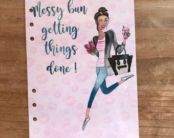 Messy bun planner girl dashboard. Available in pocket, personal, A5, mini and classic happy planner. Planner supplies, accessories Starbucks