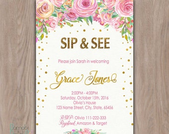 Sip and See invitation girl, sip & see invitation, sip n see invitations, sip and see invite, pink and gold glitter floral printable invites