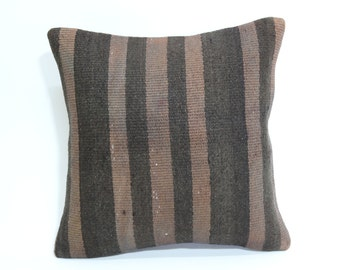 striped kilim pillow 16x16 decorative kilim pillow bohemian kilim pillow throw pillow ethnic pillow  SP4040 1584