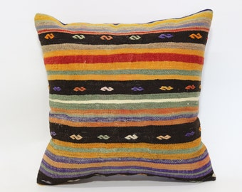 20x20 Decorative Kilim Pillow Throw Pillow 20x20 Handwoven Kilim Pillow Throw Pillow Naturle Pillow Cushion Cover  SP5050-1489