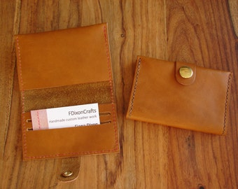 Tan leather purse for cards, cash and coins