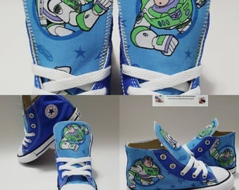 Handmade Toy story birthday outfit, buzz lightyear party, buzz lightyear converse shoes, children sneakers, custom chuck by Hallwayzdesigns