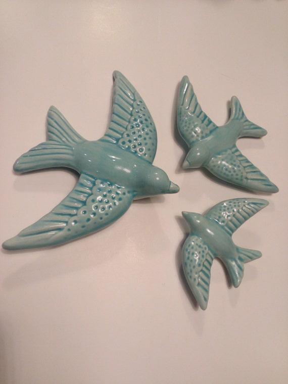 Swallows Ceramic Swallows Set Of Three Water Blue Swallows