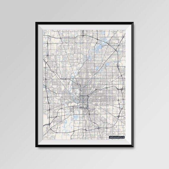 Indianapolis map print minimal wall art office home decor for Minimal art wall