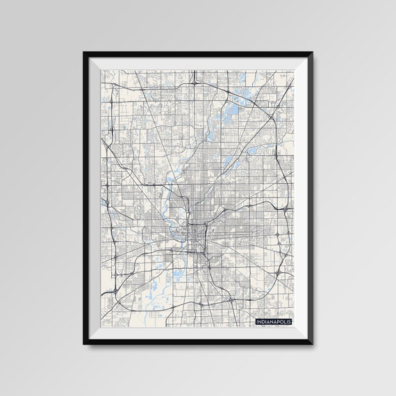 Indianapolis Map Print Minimal Wall Art Office Home Decor