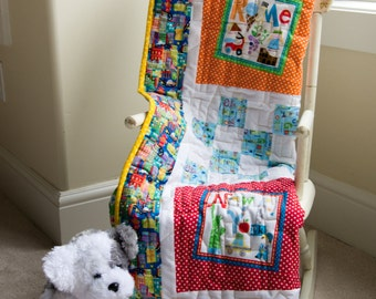 "Rome, New York, Barcelona, Montreal, and Tokyo.  What a World! Gift Idea, Toddler Modern Quilt, Fun for Boys or Girls ~40.5"" X 40.5"""