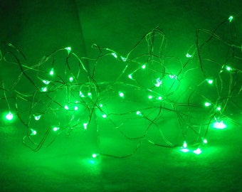 16' Strand of Green Fairy Lights - Decorative, Colorful LIghts For Anywhere - Operate on 3 AA Batteries