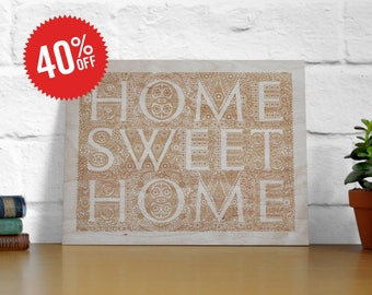 Home Sweet Home Laser Engraved Plywood Poster. 8x10""