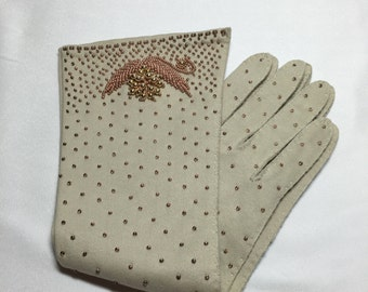 Vintage Beaded Evening Gloves Mid Length Taupe Off White