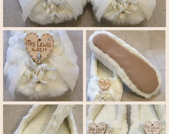 Personalised Bridal slippers with dimonte centered flowers and mini ribbon loops