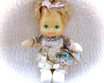 "STUNNING 1986 My Child Doll Mattel Rare Blond Hair Complete Outfit RARE Dress Floral Lace Green Eyes Short 14"" 80s 1980s Dolly Cute Original"