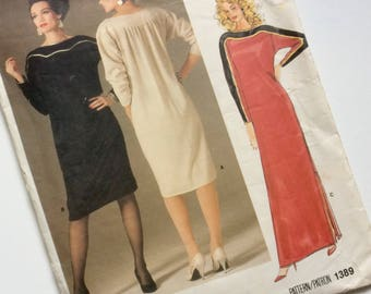 Vintage Vogue American Designer Pattern No.1389 Geoffrey Beene Dress Size 8
