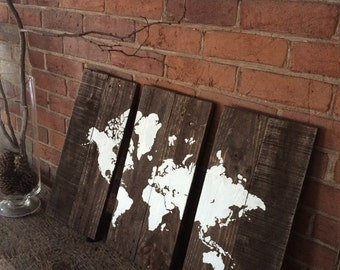 World Map 3 Piece - Wooden World Map - Map of World - Wanderlust - Travel - Gift for World Traveller
