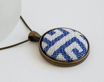 Wrap Scrap Jewelry - Necklace - Tekhni - Meandros Marina - Wrap Scrap - Blue and White - Maze - Labyrinth