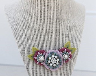 Statement Necklace, Felt Necklace, Handmade Necklace, Faux Pearl Bling Necklace, Gifts for Her, Flower Necklace