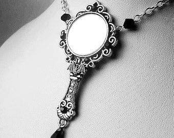 Gothic Bat Mirror Pendant Necklace