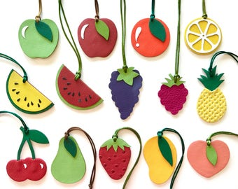 Fruit Leather Bagcharms Double-Sided Reversible and Single-Sided