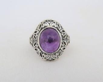 Vintage Sterling Silver Amethyst & White Topaz Filigree Ring Size 8