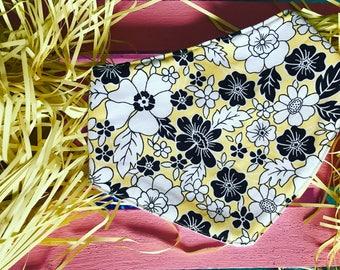 Ginger Bib - Yellow Drool Bib, Bandana Bib, Yellow Bandana bib, girl Bandana bib, Bibdana, drool bib, Spring bib, Yellow Flower bib