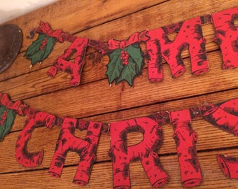 Vintage 1930's Merry Christmas Banner, Wooden Motif