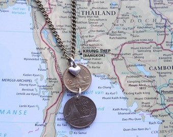 Thailand coin necklace - 2 different designs - made of original coins from Thailand