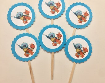 Wallykazam Cupcake Toppers - Set of 12 - Blue Scallop
