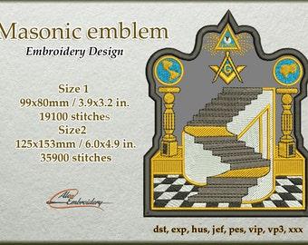 Masonic emblem embroidery design. 2 sizes. 8 embroidery formats.