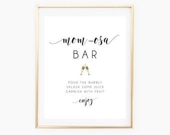 Printable MOM-osa Bar Sign, Mimosa Bar Sign, Mimosa Sign, Baby Shower Drinks Sign, Mom-osa Sign