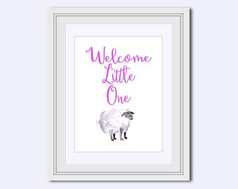 girl nursery art - Nursery Wall Art - baby girl print - nursery design - Welcome little one print - baby shower gift - watercolor lamb