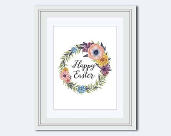 easter printable - Happy Easter printable - Easter wall art - wildflower wreath - Easter wreath - Easter Decor - Easter print - flower print