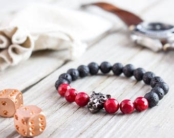 8mm - Black lava stone and faceted red coral beaded gunmetal black Leopard head stretchy bracelet,  mens bracelet, womens bracelet