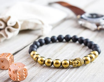 8mm - Matte black onyx beaded gold Buddha stretchy bracelet with gold plated hematite, bead bracelet, mens bracelet, womens bracelet
