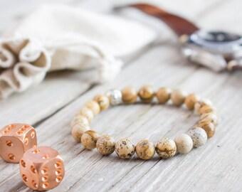 8mm - Brown jasper stone beaded stretchy bracelet, made to order yoga bracelet, mens bracelet, womens bracelet