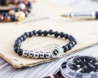 6mm - Black lava stone beaded silver Hamsa hand stretchy bracelet, made to order yoga bracelet, mens bracelet, womens lava bracelet