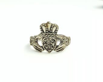 Vintage Sterling Silver Irish Claddagh Ring with Marcasite Accents- Size 7