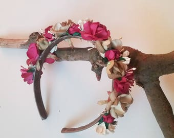 Flowers chic boho headband - tiara - headdress - guest wedding - fantasy