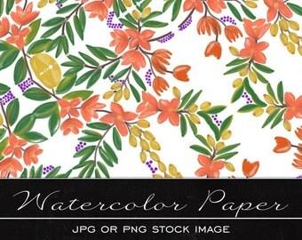 Pretty Floral, digital watercolor paper, drawing, illustration, print, printable, download, scrapbooking, JPG
