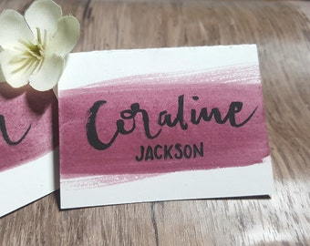 Burgundy Watercolor Place Cards