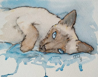 Cat painting Siamese cat art original watercolour painting art pet portraits, Let's Play