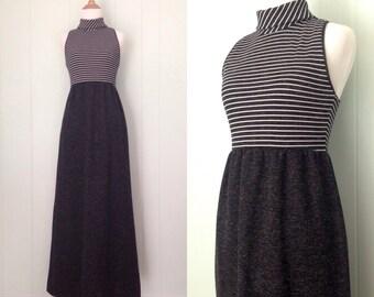 1970s Dark Grey High Collared Maxi Dress | 70s Gray Striped Color Block Sleeveless Dress | Vintage Empire Waist Racerback Full Length Dress
