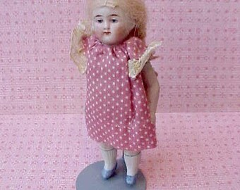 Sweet Little Antique German All Bisque Doll with Long Blond Braids