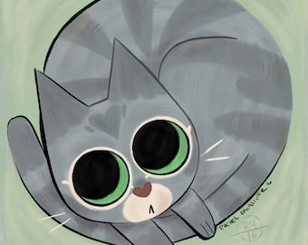 Grey Tabby Cat Print