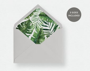 Envelope Liner Template   5 Envelope Sizes Included Printable Instant Downloads   Palm Leaves   No. EDN 5485